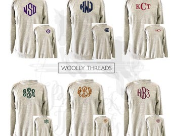 Woolly Threads Natural Pullover with Embroidered Monogram - Size L