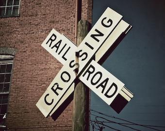 Train Art,  Railroad Crossing Sign, Train Photo, Train Wall Art