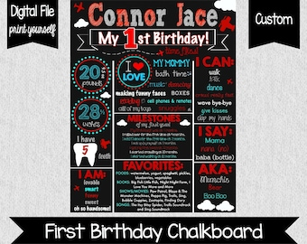 Time Flies First Birthday Chalkboard Poster - Digital - Airplane 1st Birthday - Time Flies - Boys First Birthday Sign - Red and Blue Party