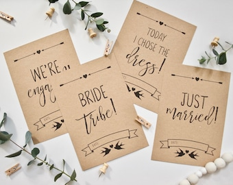 PRINTED pack of Wedding Milestone Cards - Photo Prop Flat Lay Flatlay Cards - Engagement Gift - Rustic Wedding Kraft Engagement Announcement