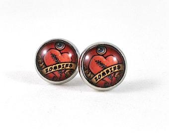 I Heart Zombie Earrings, Funny Earrings, Halloween Earrings, Quirky Earrings, Zombie Jewelry, Zombie Love, Zombie Lover Gifts, Post Earrings