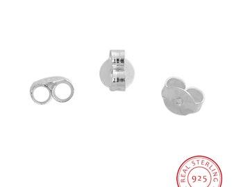 2 pr Sterling Silver Earring Ear Nuts 6 x 5mm (B530d)