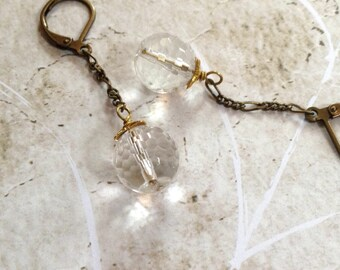 Vintage Star Dust Rock Crystal  Earrings