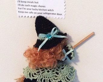 Crocheted Kitchen Witch Broom Doll Fridgie