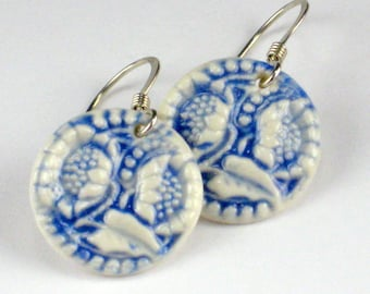 Ceramic Earring Navy Blue Porcelain Sunflower Earrings With Sterling Silver Earwires