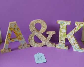 Map faced wooden letters, with maps of your choice. Birthday 5th wedding anniversary present.Mothers day Map art. Christmas present.