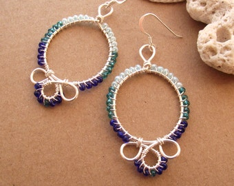 Blue Folk Art Silver Wire Hoop Earrings - Hand made, Beaded, Traditional, Hungarian, Blue Ombre