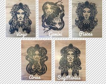 Zodiac paper cuts/ aries/ taurus/ gemini/ cancer/ leo/ virgo/ libra/ scorpio/ Sagittarius/ capricorn/ aquarius/ pisces/ hand cut/ gift idea