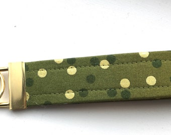 Ombré Olive Green Gold  Dots Key Chain Wristlet Key Fob Gold Colored Hardware Unique Wristlet Key Fob Ombre Confetti Fabric
