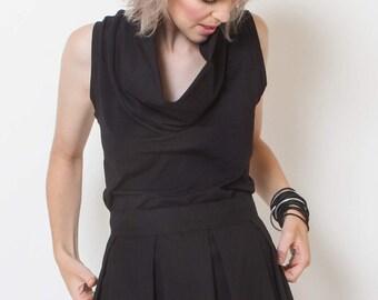 Sleeveless Black Blouse, summer shirt, short cowl neck top, summer blouse, sleeveless shirt, black top, minimal style, casual top, loose fit