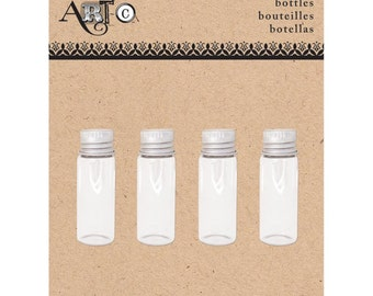 Art-C Tiny Threaded Bottles 1.75 Inches for Mixed Media Art Projects Set of 4