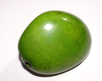 Lime Green Tagua Nut, 43mm, Vegetable Ivory, EcoBeads Tagua Natural Organic Seeds