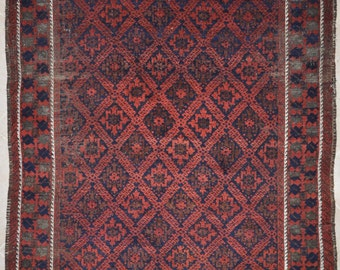 Large Antique Tribal Rug, Baluch Main carpet - 5'7 x 10'0 - Free Shipping!