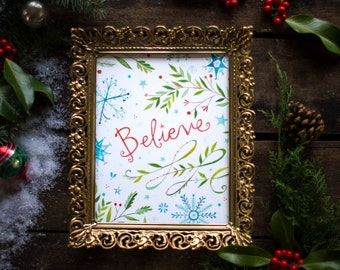 Believe Art Print| Watercolor Lettering | Christmas Wall Art | Katie Daisy | 8x10