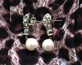 Vintage Diamond With Pearl Earrings
