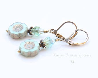 Green Brass Earrings Minty Green Czech Hawaiian Flowers Blue Green Glass Bell Flowers Swarovski Crystals Boho Earrings