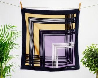Vintage Geometric Print Silky Scarf  - 1970 - Italian Designer Leonardi