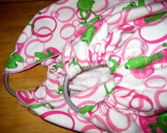 Midwifery Sling for weighing newborn or homebirth keepsake - Soft flannel w froggies