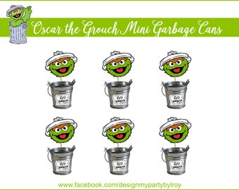6 OSCAR THE GROUCH Mini Trash Cans,Oscar the Grouch Party Decor,Sesame Street Party Printable,Elmo Party Decor,Oscar Trash Cans,Mini Buckets