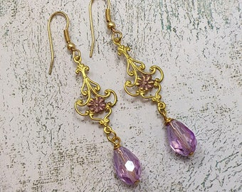 Filigree Gold Filigree Earrings with Lavender Teardrop Crystals, Swarovski Crystals, Hand Painted, Dangle and drops