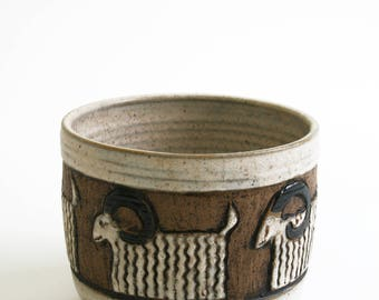 Mid Century Modern Goat Ram Sheep Animal Studio Art Pottery Signed