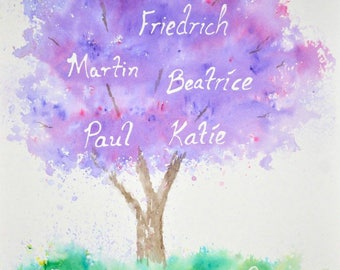 Customizable Watercolor Family Tree, Spring Colors