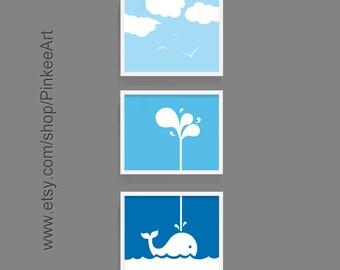 whale nursery decor, whale baby nursery art, whale playroom decor, nautical nursery wall art, nautical playroom art whale, whale kids art