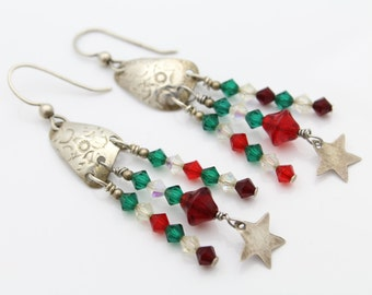 Handcrafted Sterling Silver and Crystal Drop Earrings. [6213]