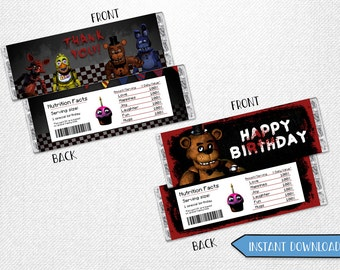 Five Nights at Freddy's chocolate bar, Five Nights at Freddy's chocolate wrappers, Five Nights at Freddy's candy wrappers!