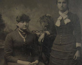 Sisters - Cute 1880's Wealthy Women Tintype Photograph - Free Shipping