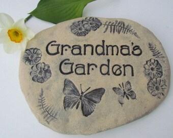 Grandma's Garden sign, Grandma stone, Grandma Flower garden sign / Grandma gift, Mother's Day gift. Grandma Ceramic Plaque w/ Butterflies