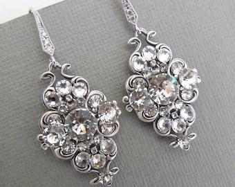 Bridal Wedding Earrings Wedding Jewelry Crystal Bridal Earrings Swarovski Crystal Earrings Bridal Jewelry Bridal Rhinestone Earrings CLAUDE