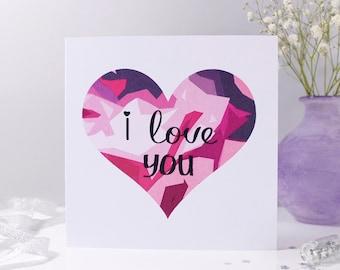 I Love You Geometric Heart Card - Anniversary Card - Geometric Love You Card - Geometric Anniversary Card