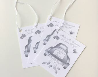 Just Married Personalised Mr and Mrs Wedding Gift Tags - Pack of 4 Tags - GT028