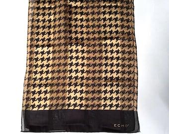 Vintage 1990s Echo Houndstooth Leopard Preppy Long Silk Scarf/Animal Print Colors/Rrrrrrrrr