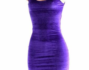 Purple Velvet Bodycon Tank Dress Super Soft and Stretchy   152453