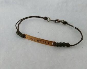 I love horses handstamped bracelet