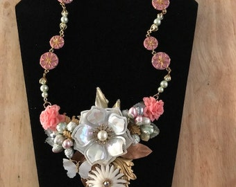 Upcycled Vintage Floral Assemblage Statement Necklace Recycled Vintage Green Glass Pearls Millinery Flowers B'sue Brass Leaves MOP Butterfly