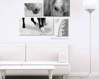 Horse decor, Black and white photography, Large Canvas art, Horse photography, horse tack, large wall art, horse print bedroom decor