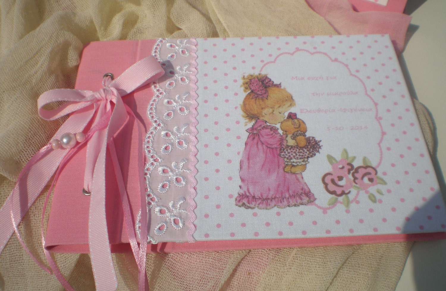 Baby girl shower guestbook baptism guest book baby keepsake zoom solutioingenieria Image collections