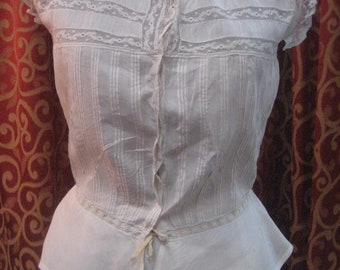 """1890's, 34"""" bust, white linen and lace corset cover."""