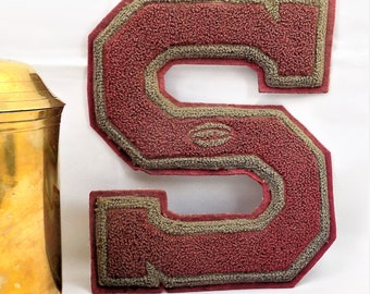 Letterman Patch, Football, Letter S, Pennsylvania Letterman Memorabilia, Burgandy and Gray Trim, Vintage Accessories