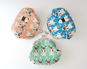 Pug Coin Purse, Aqua Blue and Pink, Japanese fabric