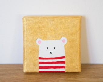Small bear painting, Small painting for kids, Nursery painting, Gold painting, Kids room painting, Tiny painting for kids decor