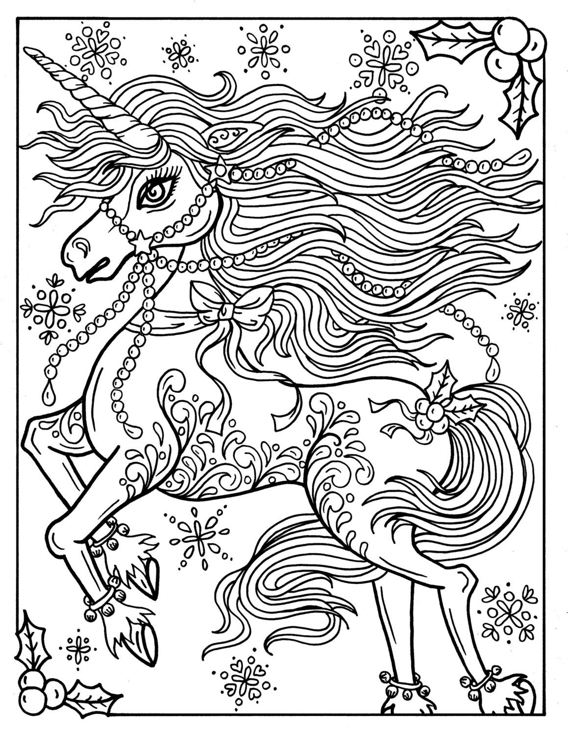 Christmas Unicorn Adult Coloring page Coloring book Holidays
