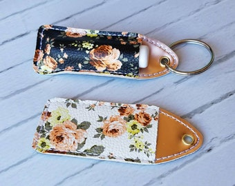 Floral Lip Balm and Chapstick Holder Keychain