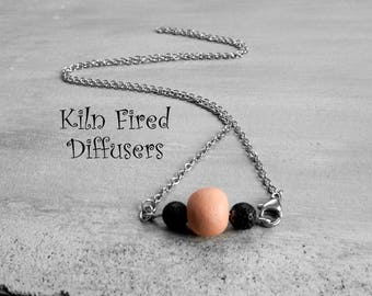 Essential Oil Diffuser Necklace Kiln Fired Clay Lava Beads Aromatherapy Silver Stainless Steel Chain Dainty Jewelry Natural Stress Relief