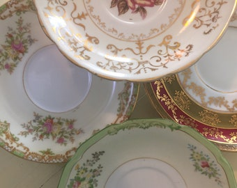 4 Antique and Vintage Mismatched Tea Cup saucers  - Rose Pink Gold Green floral - Tea party china