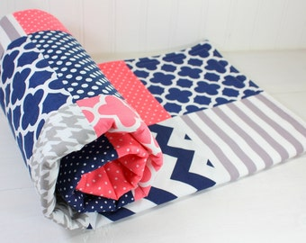 Baby Blanket, Baby Quilt, Minky Baby Blanket, Nursery Decor, Baby Shower Gift, Baby Girl, Coral Pink Navy Blue Gray Grey White Navy