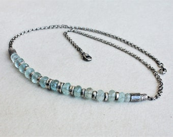 Oxidized sterling silver aquamarine necklace, aquamarine silver necklace, artisan necklace